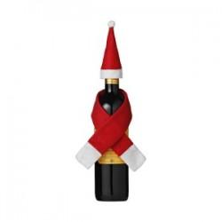 Décoration de bouteille écharpe et chapeau de Noël Honka