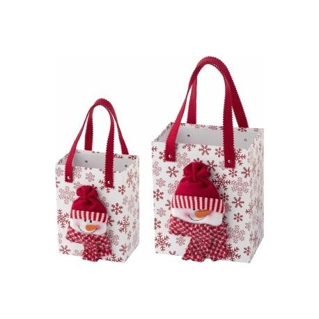 Set de 2 sacs en polyester surmontés de figurines de Noël