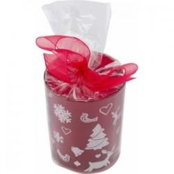 Photophore en verre décoré et livré avec une bougie